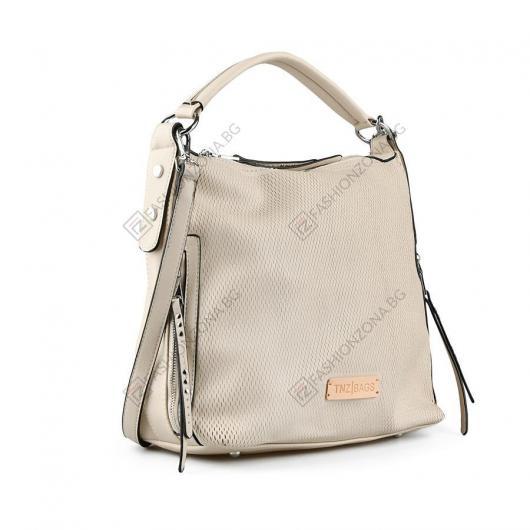 Бежова дамска ежедневна чанта Siobhan