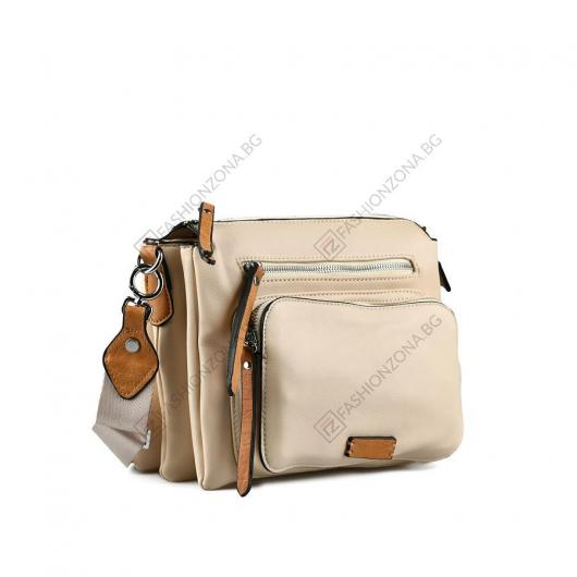 Бежова дамска ежедневна чанта Derya