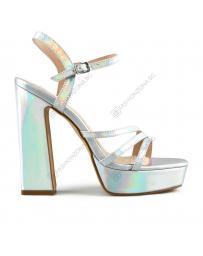 Сребристи дамски елегантни сандали Keely