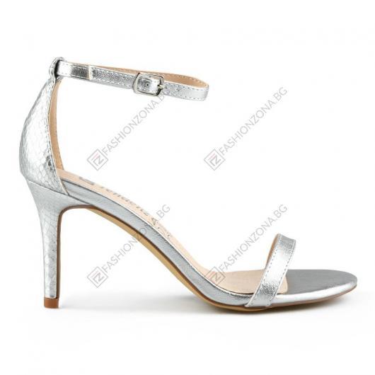 Сребристи дамски елегантни сандали Rudee