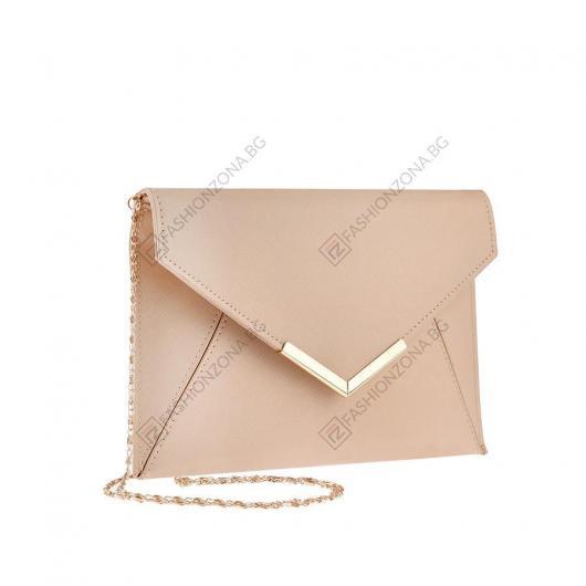 Бежова дамска елегантна чанта Zetta