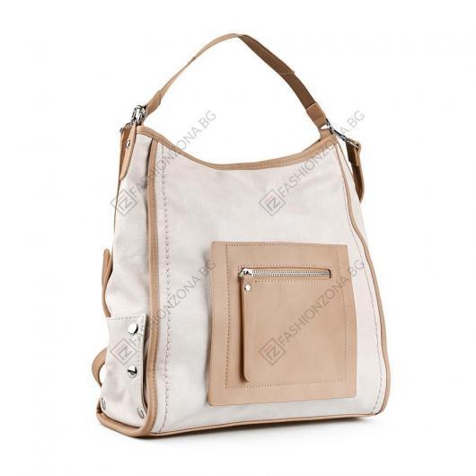 Бежова дамска ежедневна чанта Yasmin