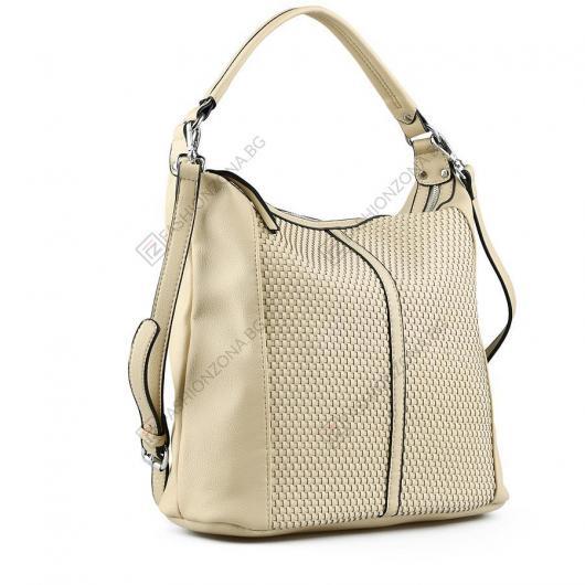 Бежова дамска ежедневна чанта Nechama