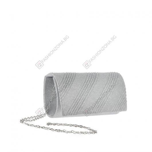 Сребриста дамска елегантна чанта Ouida