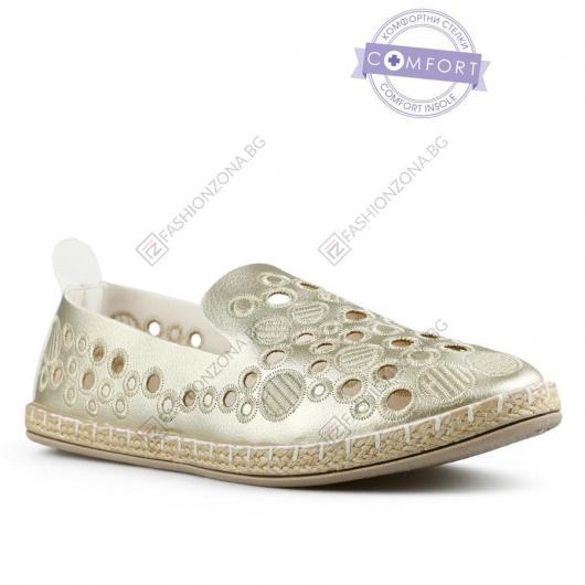 Златисти дамски ежедневни обувки Linnea