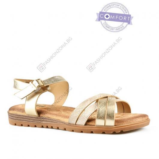 Златисти дамски ежедневни сандали Avila