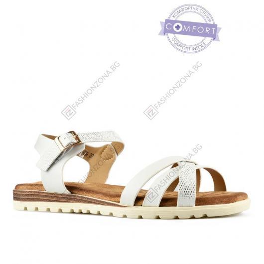 Бели дамски ежедневни сандали Edite