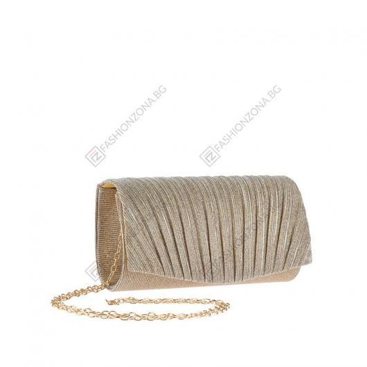 Златиста дамска елегантна чанта Ronja