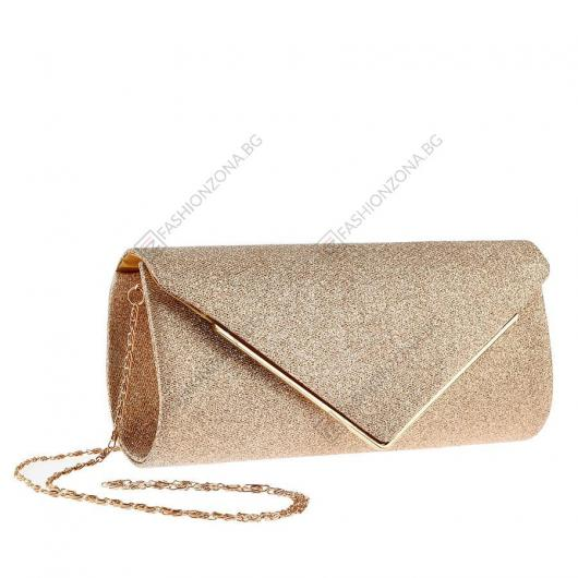Златиста дамска елегантна чанта Fleta