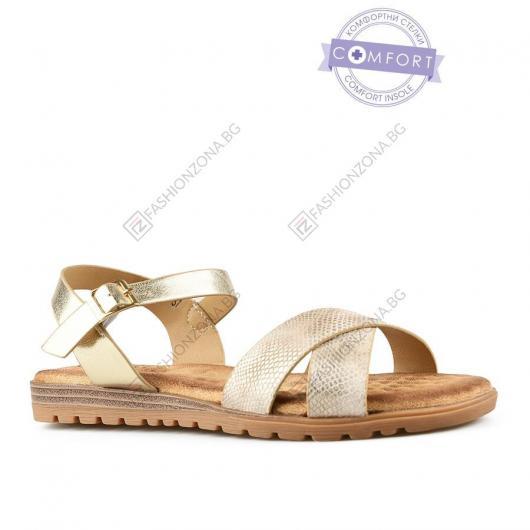 Златисти дамски ежедневни сандали Vincenza