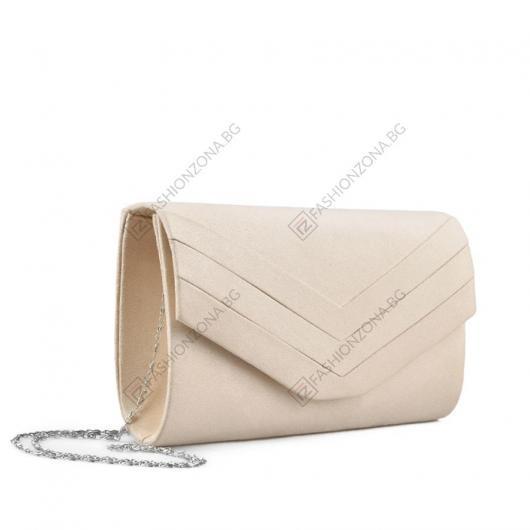 Бежова дамска елегантна чанта Zinnia