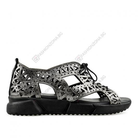 Сребристи дамски ежедневни сандали Cili Tanaya