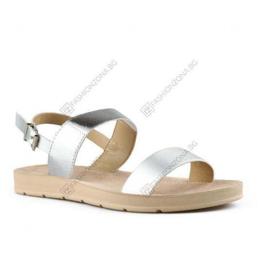 Сребристи дамски ежедневни сандали Quang