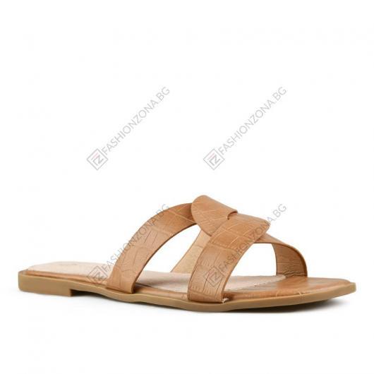Кафяви дамски ежедневни чехли Polina