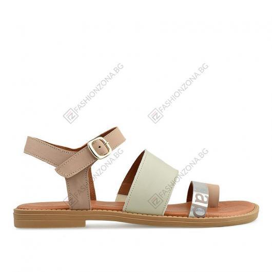 Бежови дамски ежедневни сандали Biddy