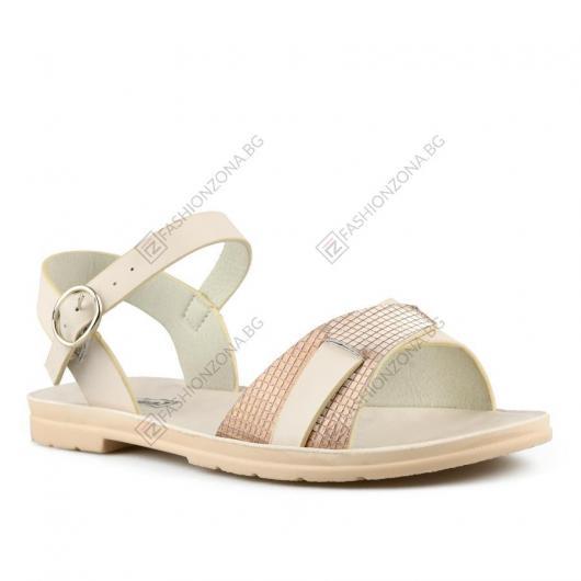 Бежови дамски ежедневни сандали Nata