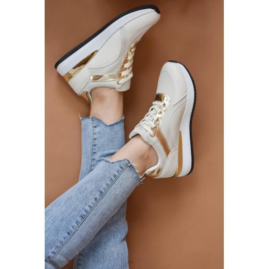 Бежови дамски ежедневни обувки Jadzia