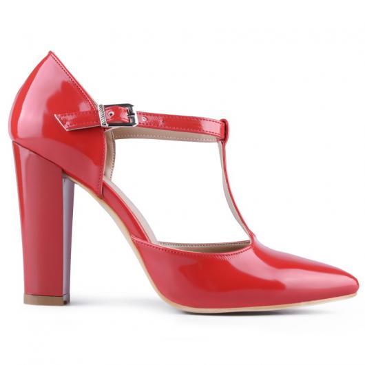 Червени дамски елегантни обувки 0127766
