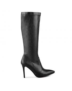 Черни дамски елегантни ботуши 0128721 в online магазин Fashionzona