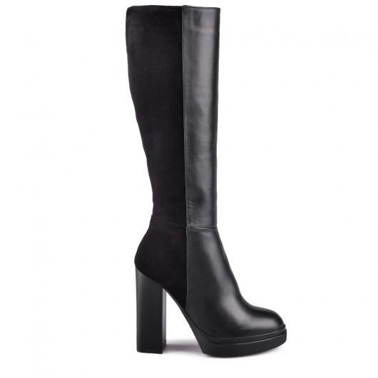 Черни дамски елегантни ботуши Valentina