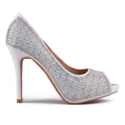 Бели дамски елегантни обувки Chenelle