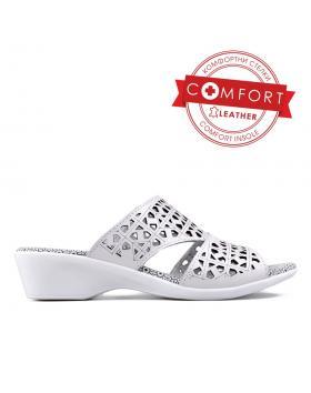 Бели дамски ежедневни чехли 0129503 в online магазин Fashionzona