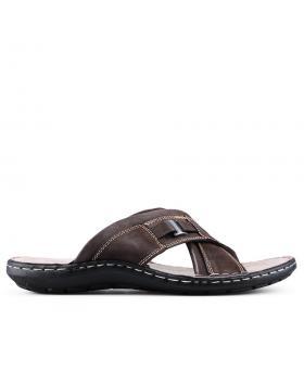 Кафяви мъжки чехли 0129305 в online магазин Fashionzona