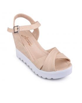 Бежови дамски ежедневни сандали Manjari в online магазин Fashionzona