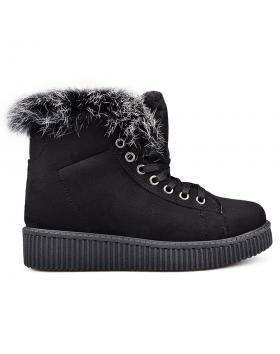 Черни дамски ежедневни боти с топъл хастар 0131928 в online магазин Fashionzona