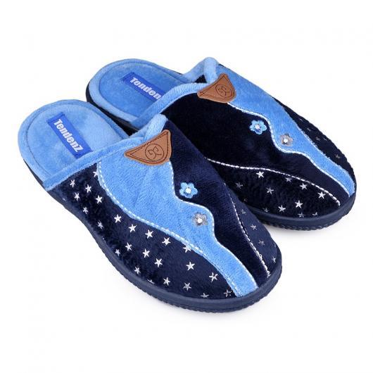 Сини дамски пантофи Merola